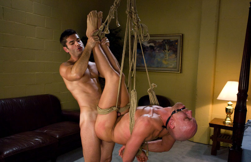 Cock bondage. Balls torture by a rope, torturing with cumshot male.